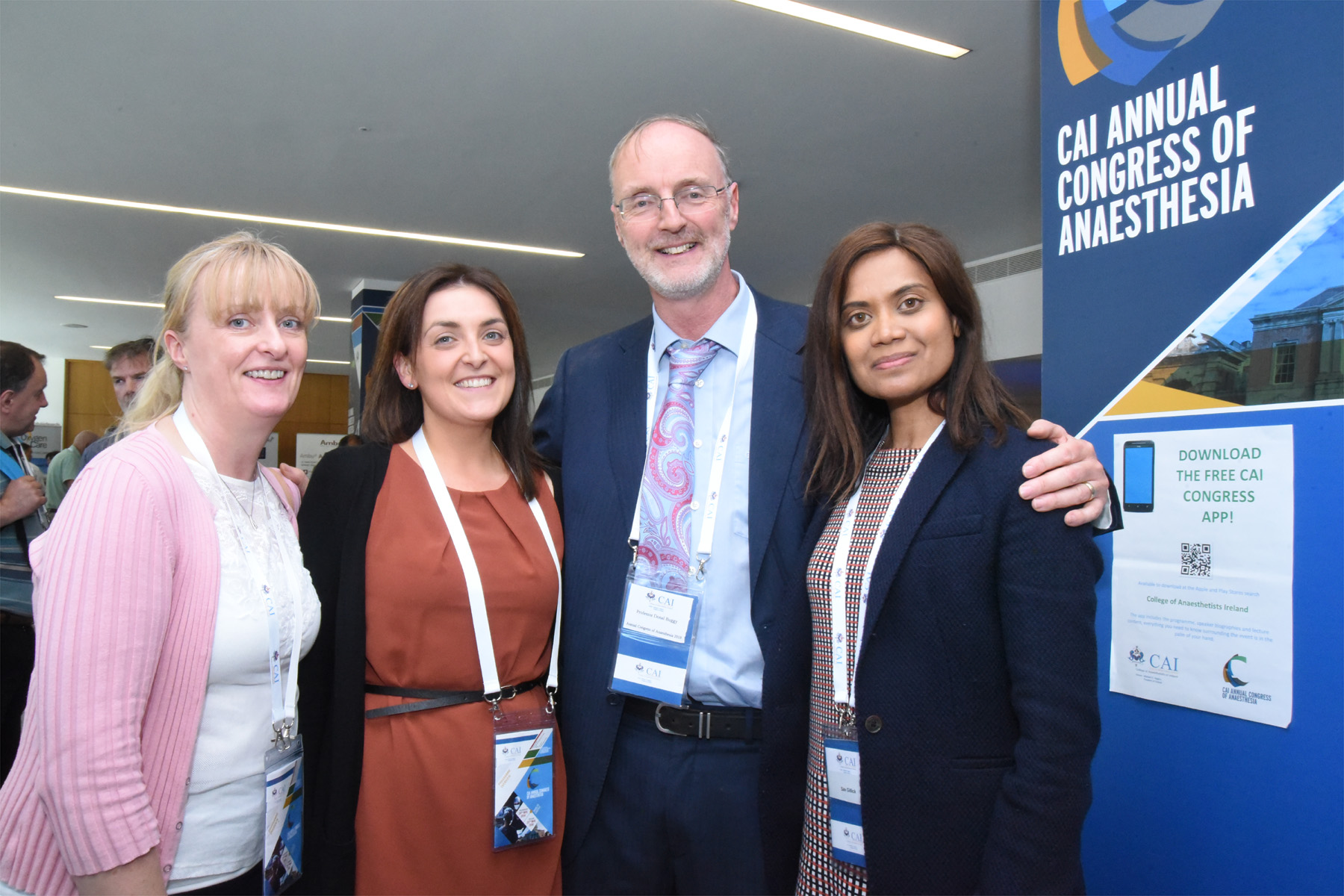 College of Anaesthetists of Ireland Annual Congress 2018 -Dr Triona Costin, Dr Aoife Malone, Professor Donal Buggy, Professional Development Committee Chairman, CAI and Dr Sav Gillick