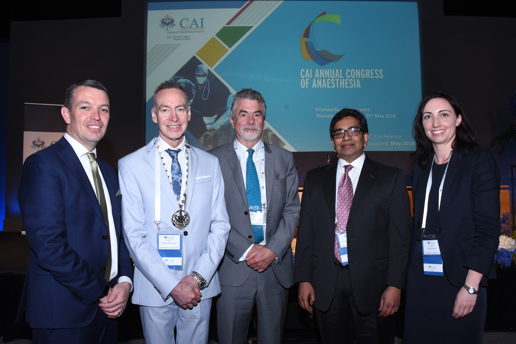 College of Anaesthetists of Ireland Annual Congress 2018 - Mr Martin McCormack, CEO, CAI, Prof Kevin Carson, Prof Gerry Fitzpatrick, Dr Vijay Gottummukkala and Dr Fiona Kiernan,
